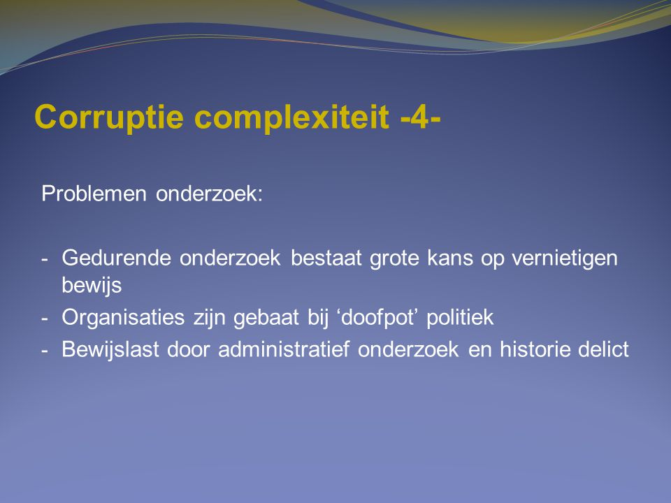 Corruptie complexiteit -4-