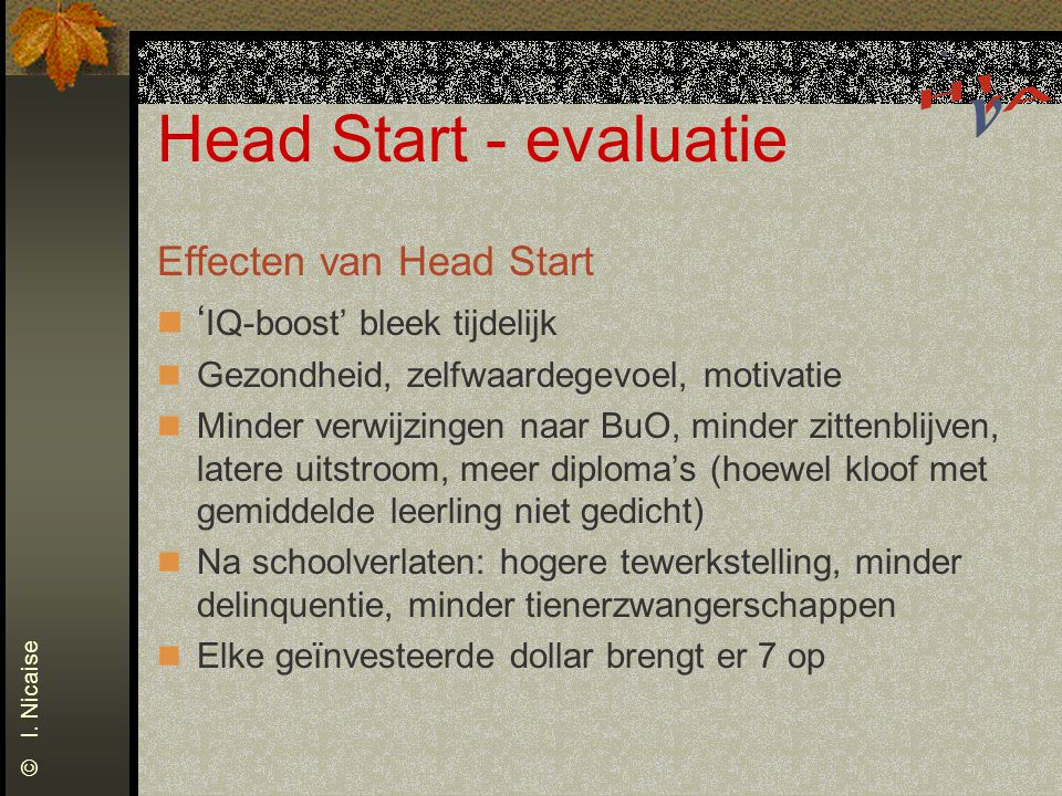 Head Start - evaluatie Effecten van Head Start