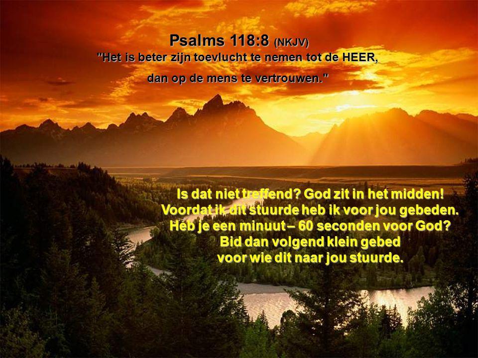 Psalms 118:8 (NKJV) Het is beter zijn toevlucht te nemen tot de HEER,
