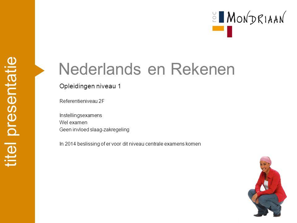 Nederlands en Rekenen titel presentatie Opleidingen niveau 1 april '17