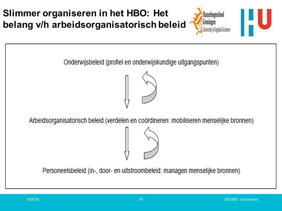 Slimmer organiseren in het HBO: Het belang v/h arbeidsorganisatorisch beleid