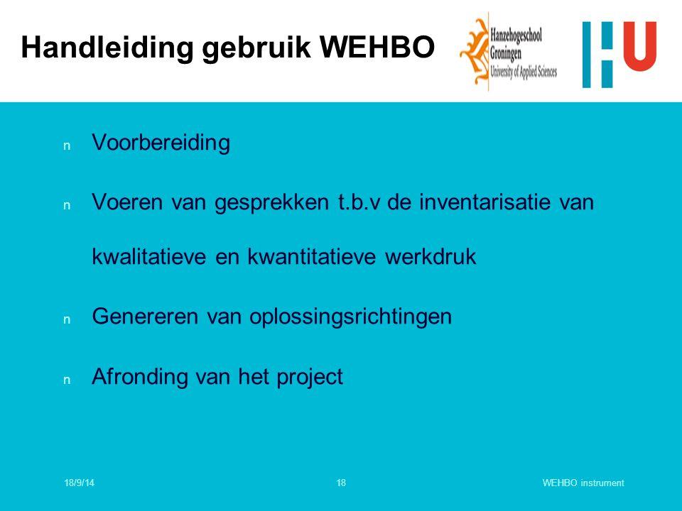 Handleiding gebruik WEHBO