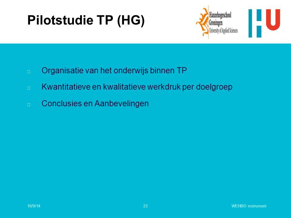 Pilotstudie TP (HG) Organisatie van het onderwijs binnen TP
