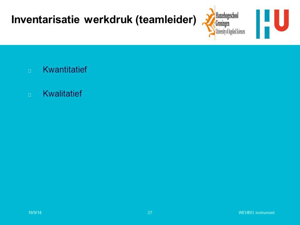 Inventarisatie werkdruk (teamleider)