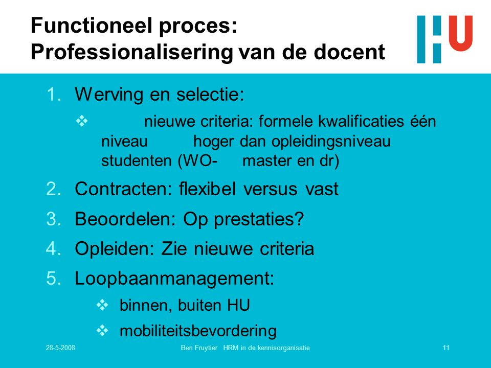 Functioneel proces: Professionalisering van de docent