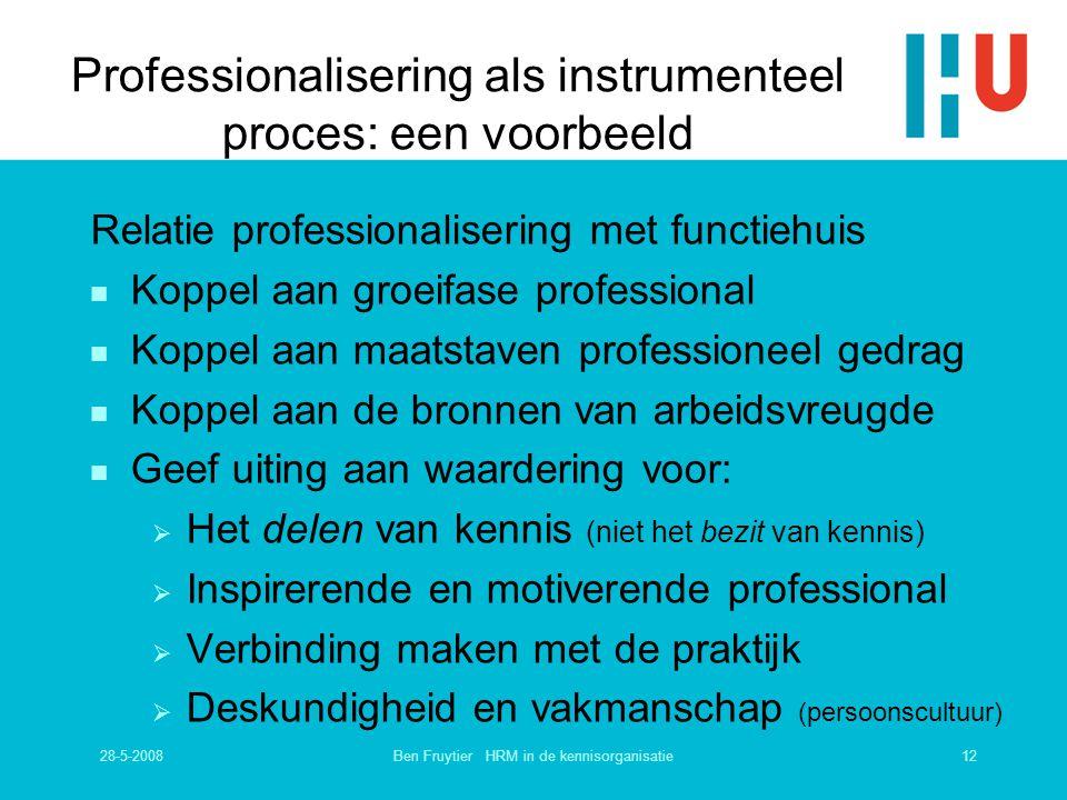 Professionalisering als instrumenteel proces: een voorbeeld