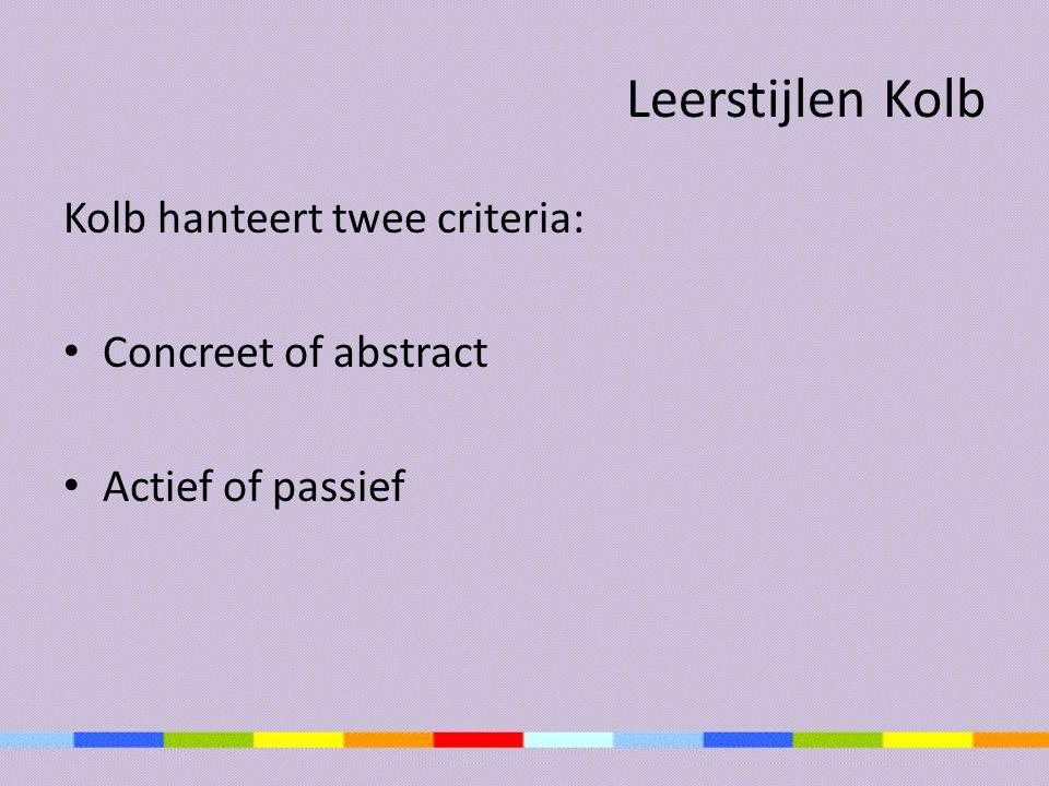 Leerstijlen Kolb Kolb hanteert twee criteria: Concreet of abstract