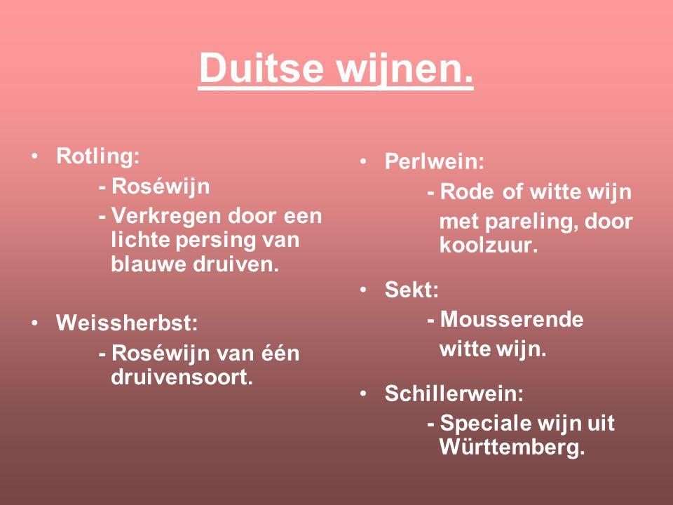 Duitse wijnen. Rotling: Perlwein: - Roséwijn - Rode of witte wijn