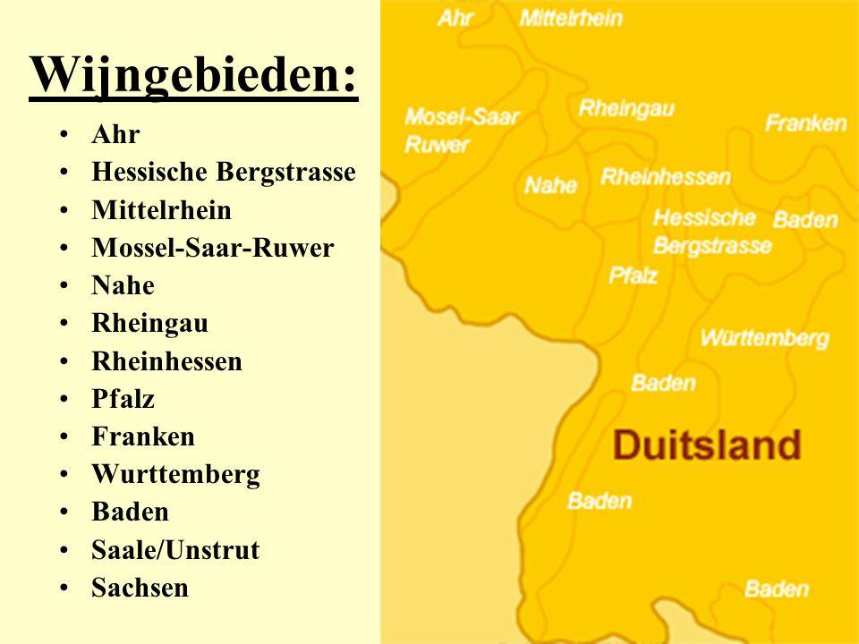Wijngebieden: Ahr Hessische Bergstrasse Mittelrhein Mossel-Saar-Ruwer