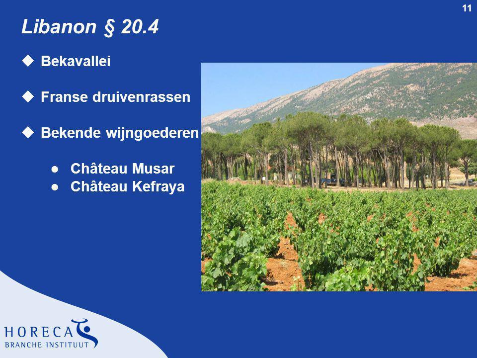 Libanon § 20.4 Bekavallei Franse druivenrassen Bekende wijngoederen