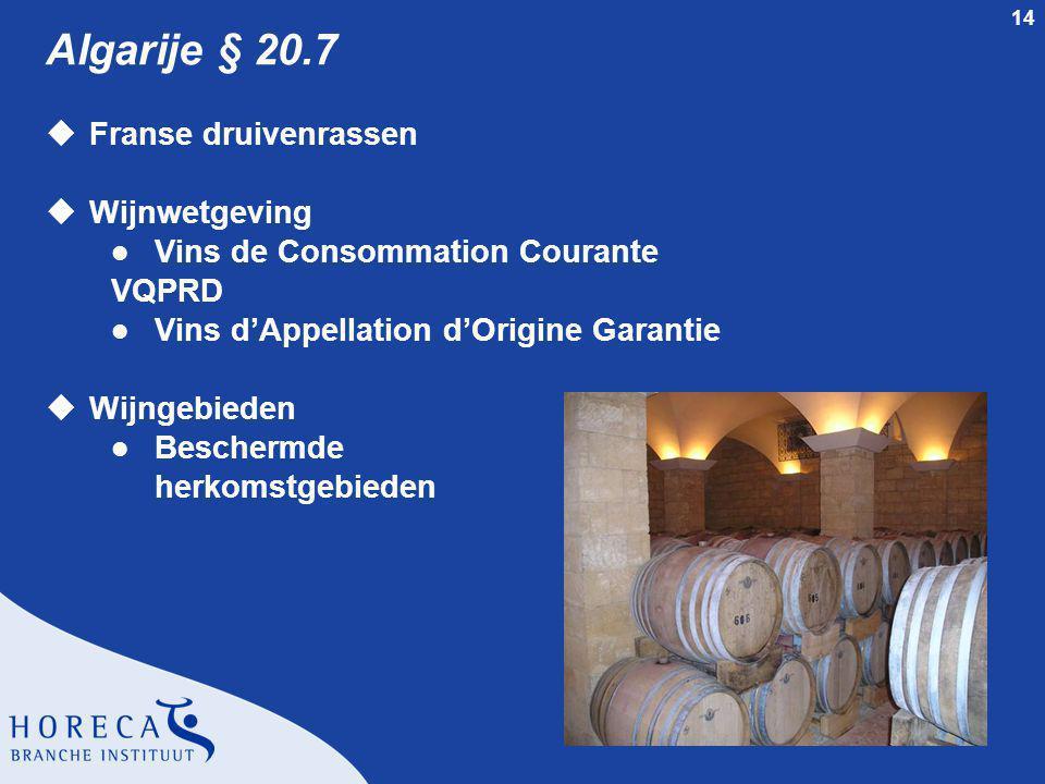 Algarije § 20.7 Franse druivenrassen Wijnwetgeving
