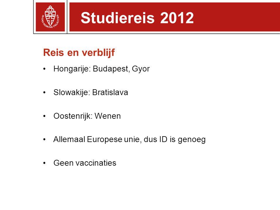 Studiereis 2012 Reis en verblijf Hongarije: Budapest, Gyor