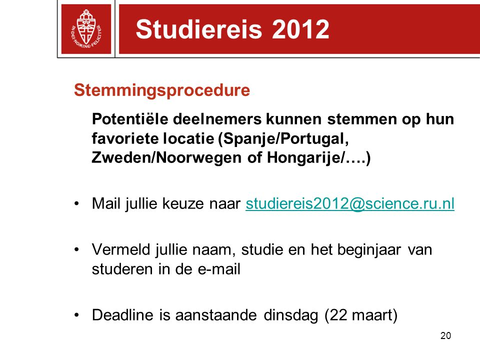 Studiereis 2012 Stemmingsprocedure
