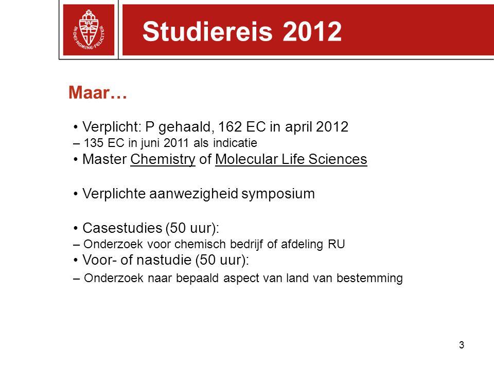 Studiereis 2012 Maar… • Verplicht: P gehaald, 162 EC in april 2012