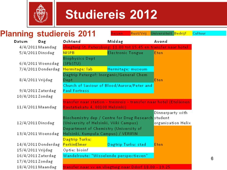 Studiereis 2012 Planning studiereis 2011