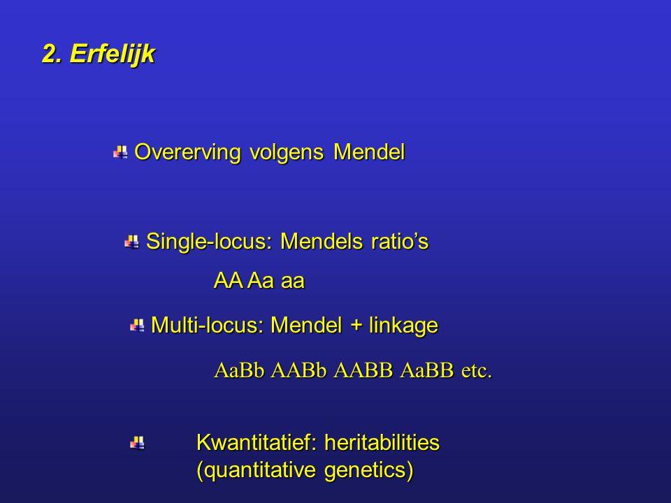 2. Erfelijk Overerving volgens Mendel Single-locus: Mendels ratio's