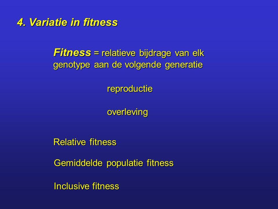 4. Variatie in fitness Fitness = relatieve bijdrage van elk genotype aan de volgende generatie. reproductie.
