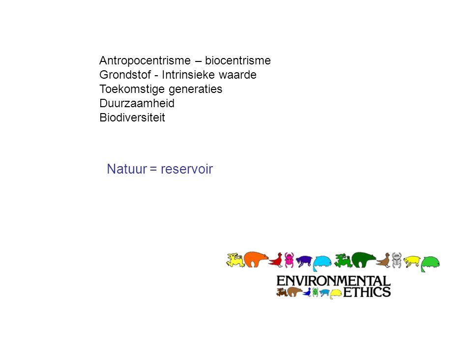 Natuur = reservoir Antropocentrisme – biocentrisme