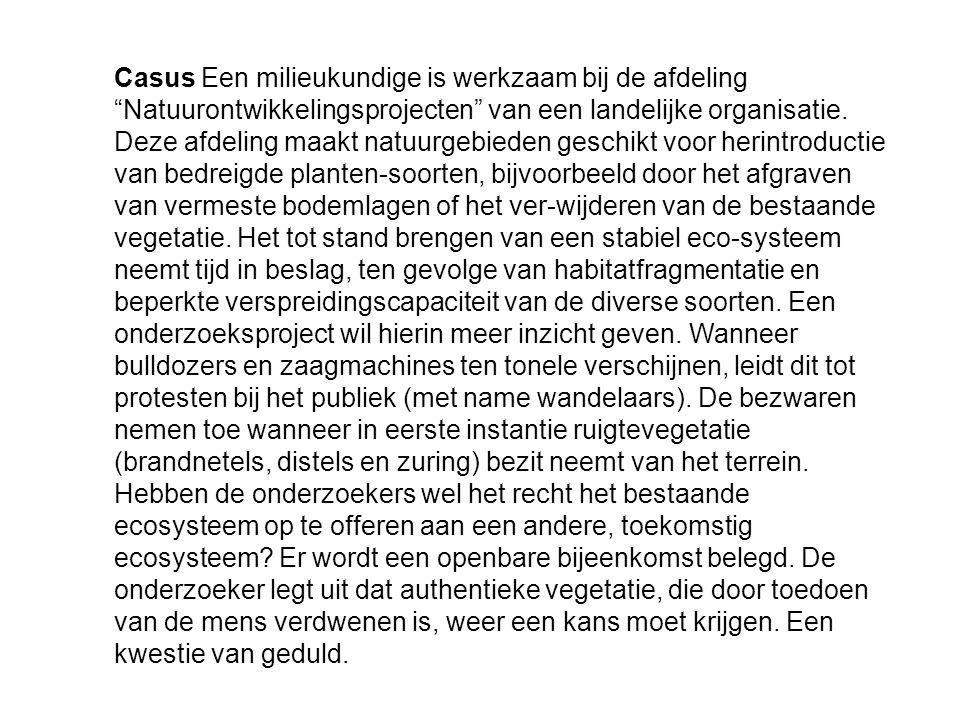 Casus Een milieukundige is werkzaam bij de afdeling Natuurontwikkelingsprojecten van een landelijke organisatie.