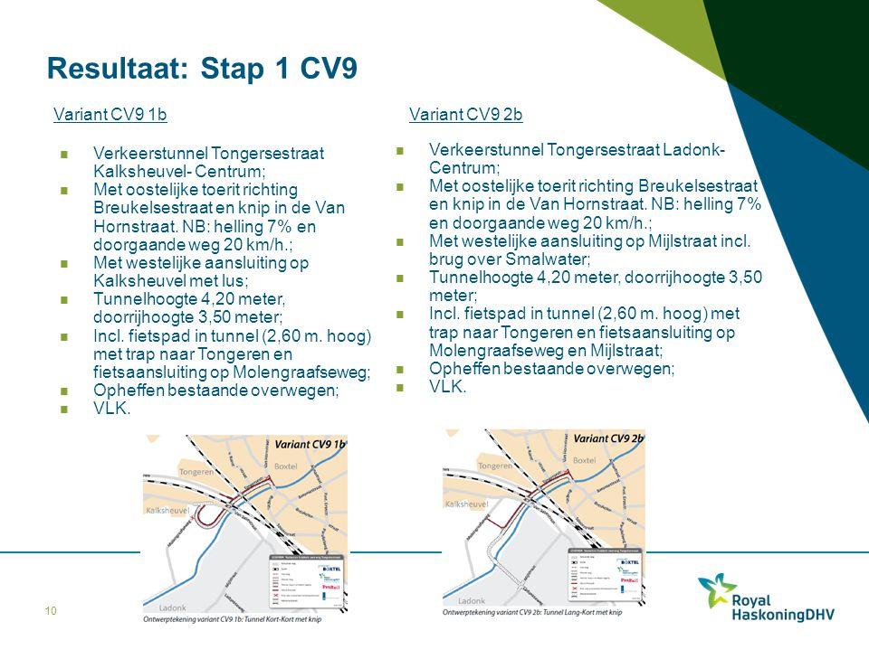 Resultaat: Stap 1 CV9 Variant CV9 1b Variant CV9 2b