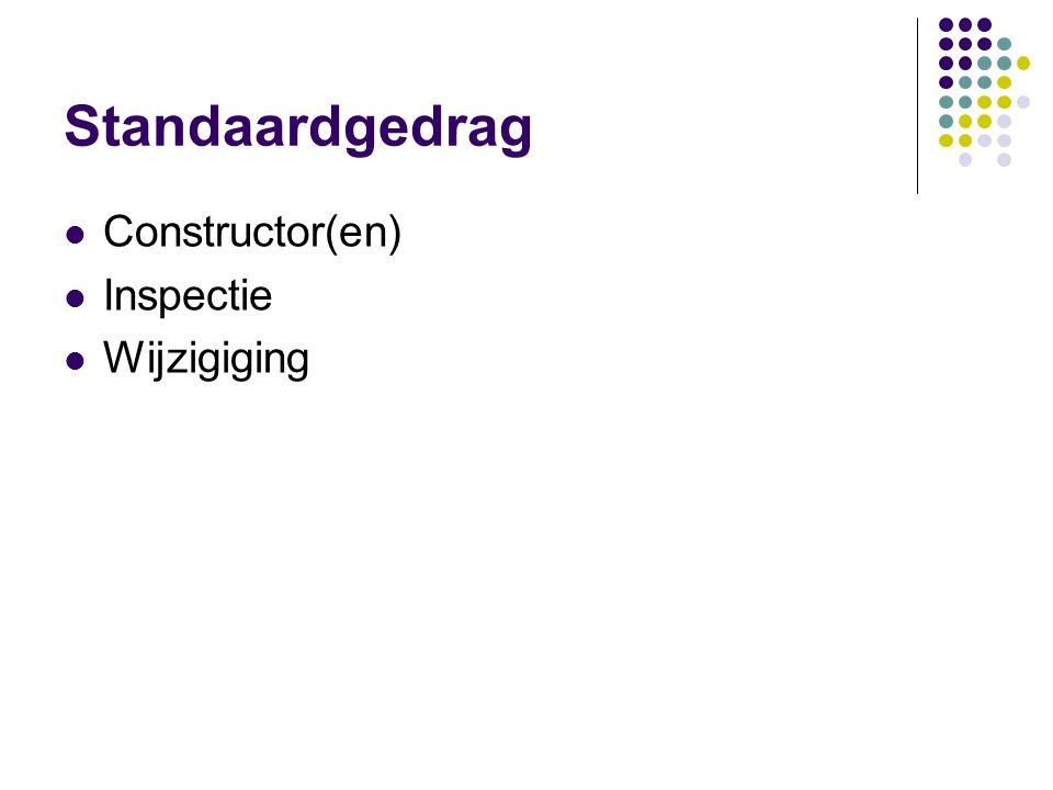 Standaardgedrag Constructor(en) Inspectie Wijzigiging
