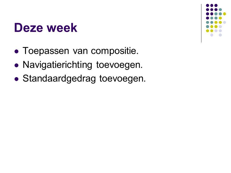 Deze week Toepassen van compositie. Navigatierichting toevoegen.