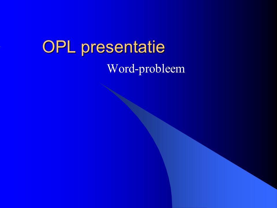 OPL presentatie Word-probleem