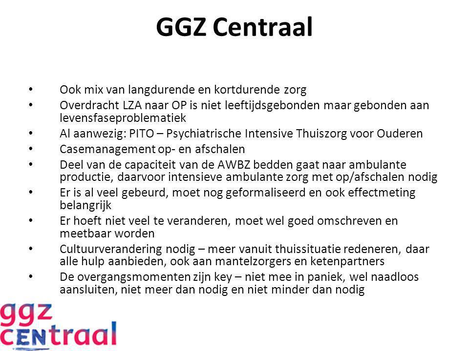 GGZ Centraal Ook mix van langdurende en kortdurende zorg