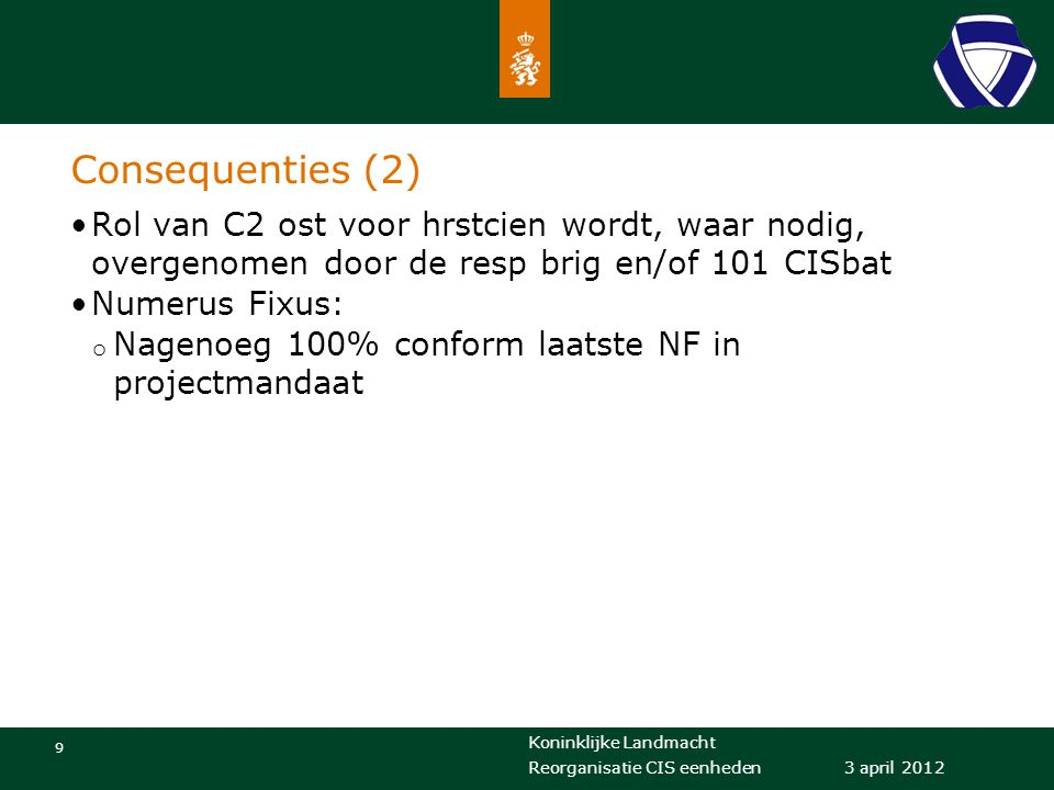 Consequenties (2) Rol van C2 ost voor hrstcien wordt, waar nodig, overgenomen door de resp brig en/of 101 CISbat.