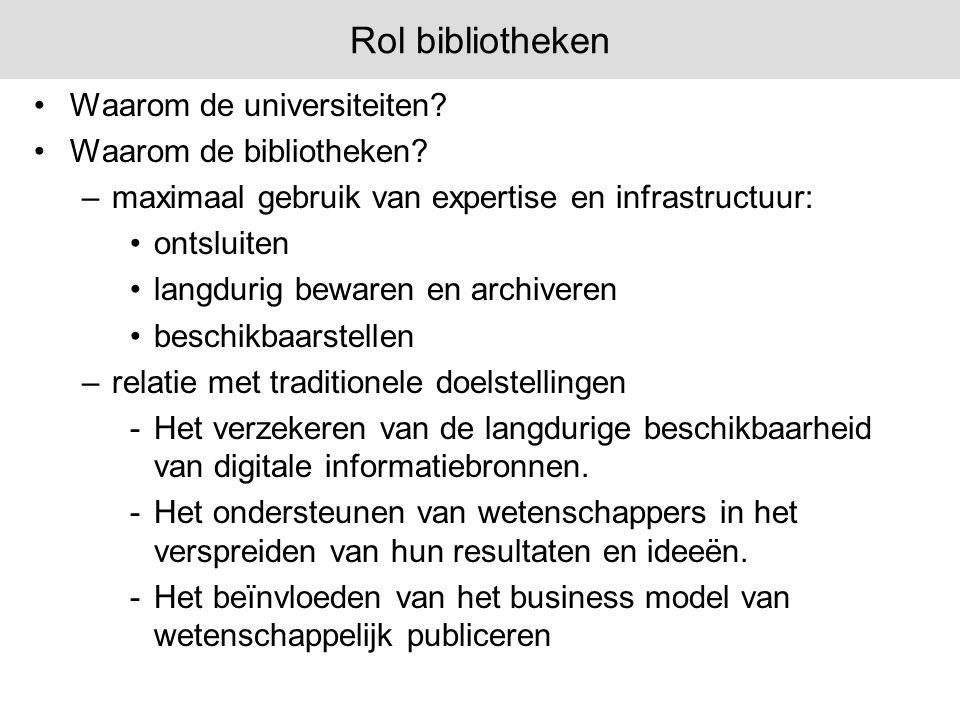 Rol bibliotheken Waarom de universiteiten Waarom de bibliotheken