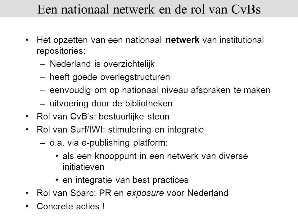 Een nationaal netwerk en de rol van CvBs
