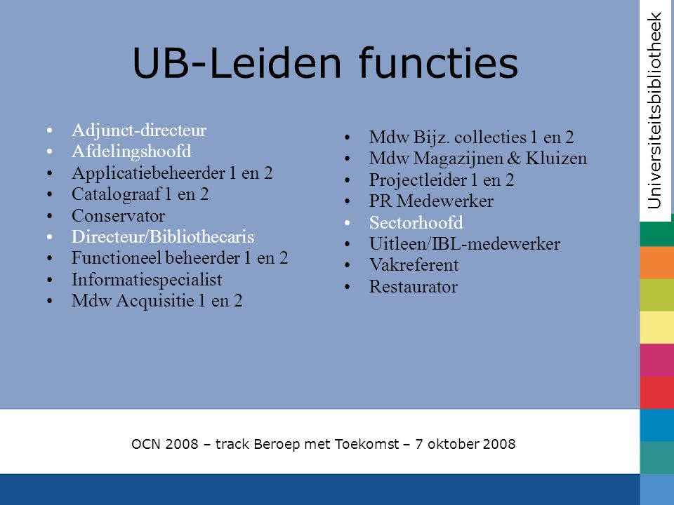 UB-Leiden functies Mdw Bijz. collecties 1 en 2 Adjunct-directeur