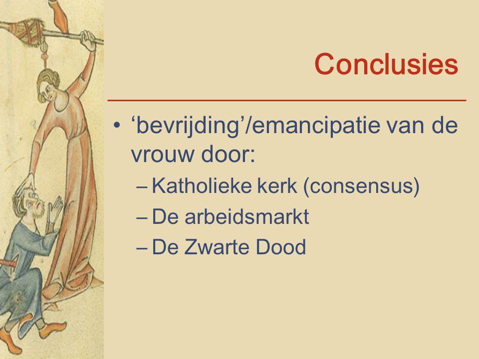 Conclusies 'bevrijding'/emancipatie van de vrouw door: