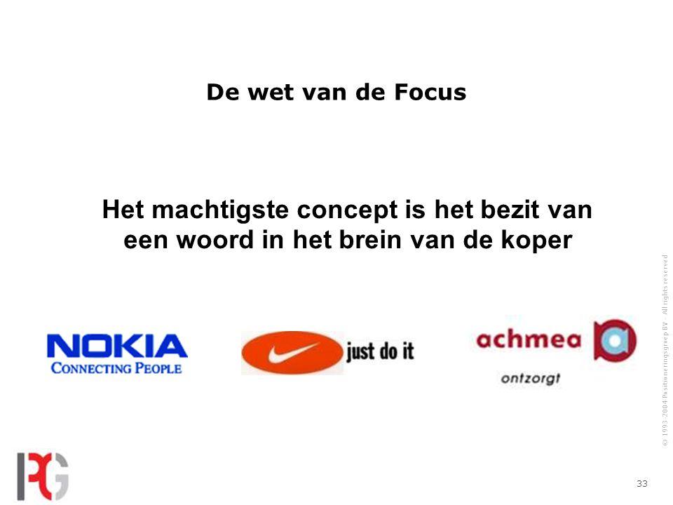 De wet van de Focus Het machtigste concept is het bezit van een woord in het brein van de koper