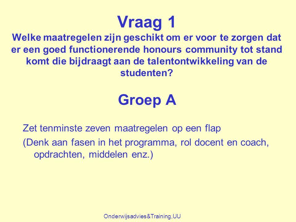 Vraag 1 Welke maatregelen zijn geschikt om er voor te zorgen dat er een goed functionerende honours community tot stand komt die bijdraagt aan de talentontwikkeling van de studenten Groep A