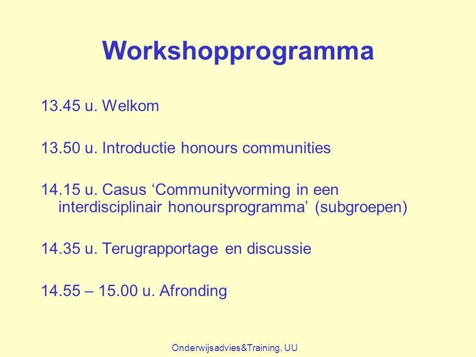 Workshopprogramma 13.45 u. Welkom