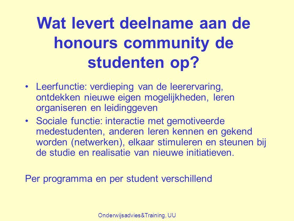 Wat levert deelname aan de honours community de studenten op