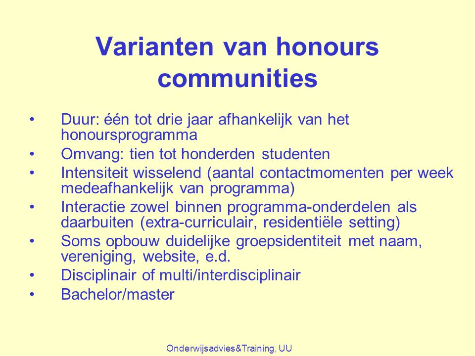 Varianten van honours communities