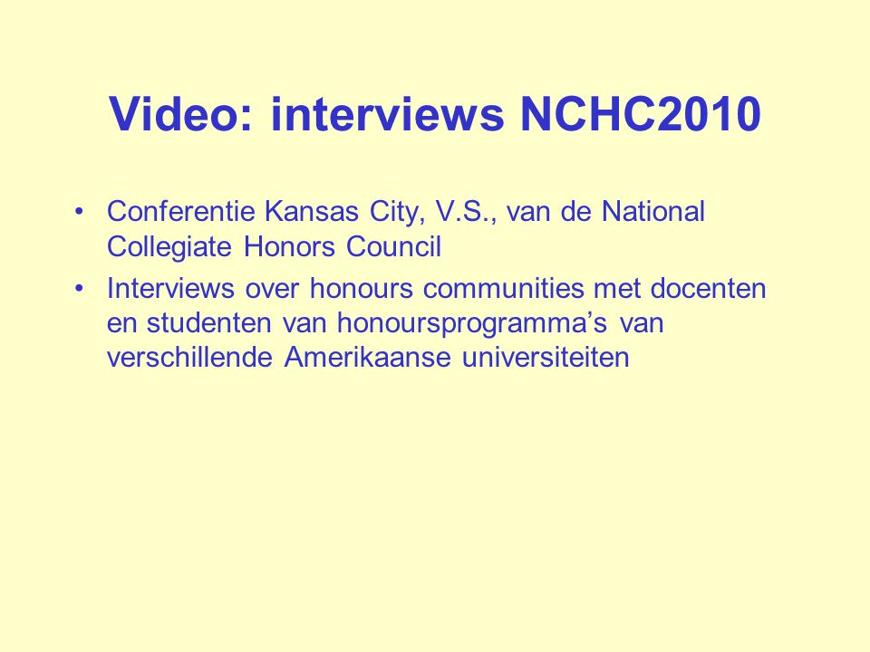 Video: interviews NCHC2010
