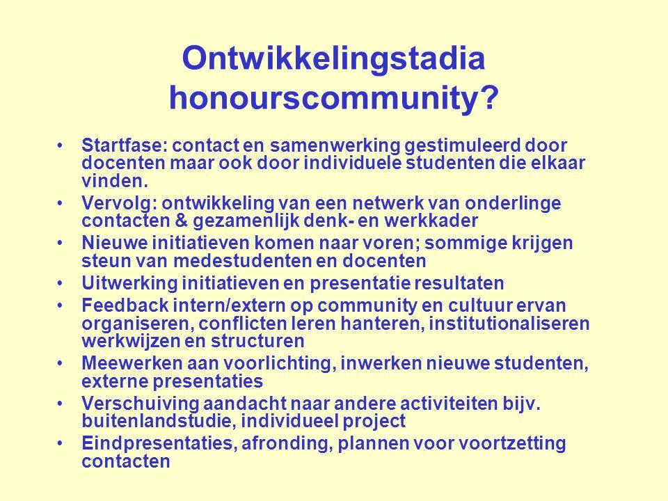 Ontwikkelingstadia honourscommunity
