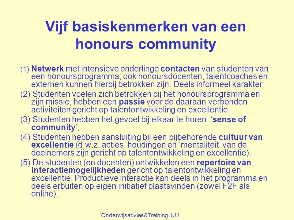 Vijf basiskenmerken van een honours community