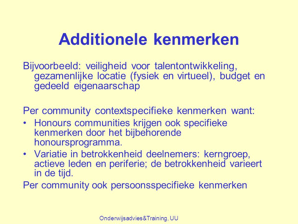 Additionele kenmerken
