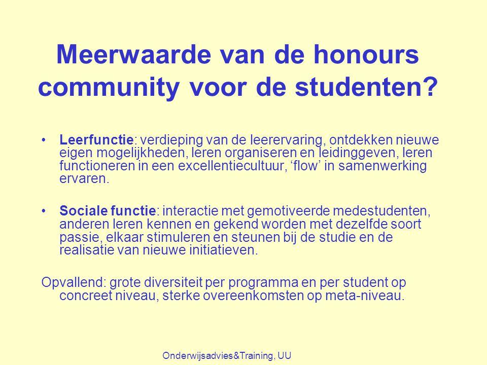 Meerwaarde van de honours community voor de studenten