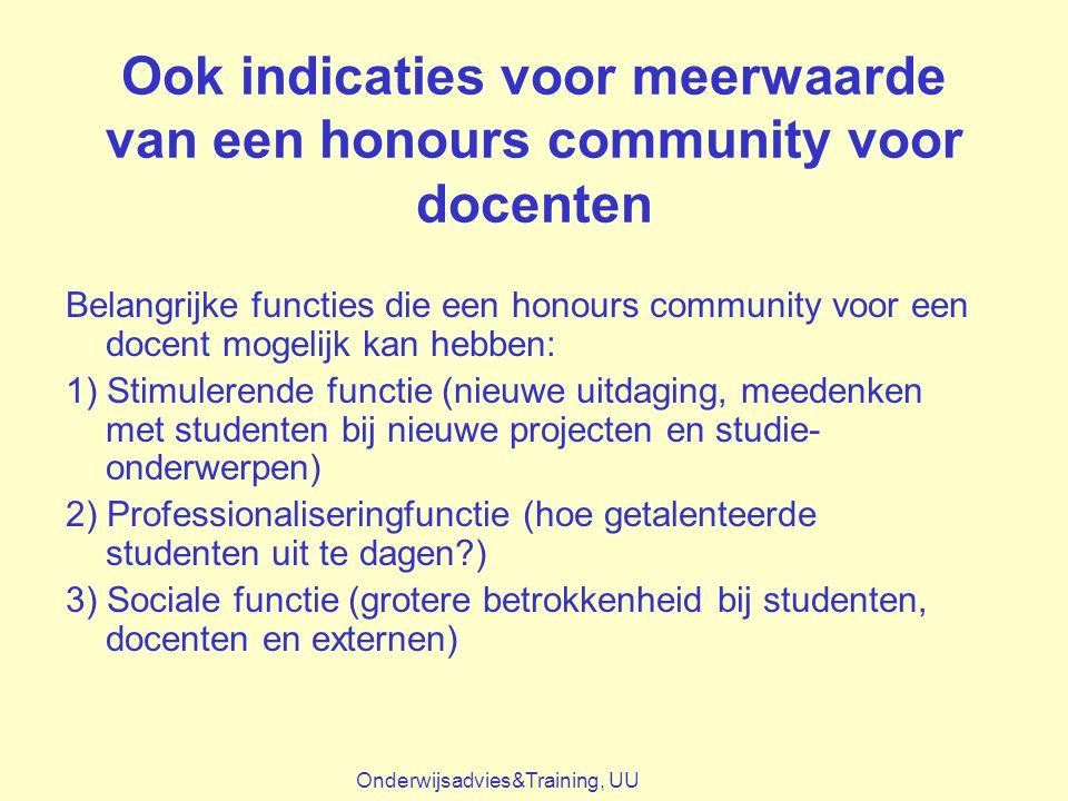 Ook indicaties voor meerwaarde van een honours community voor docenten