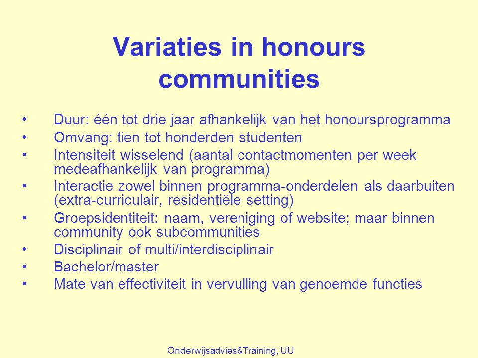 Variaties in honours communities