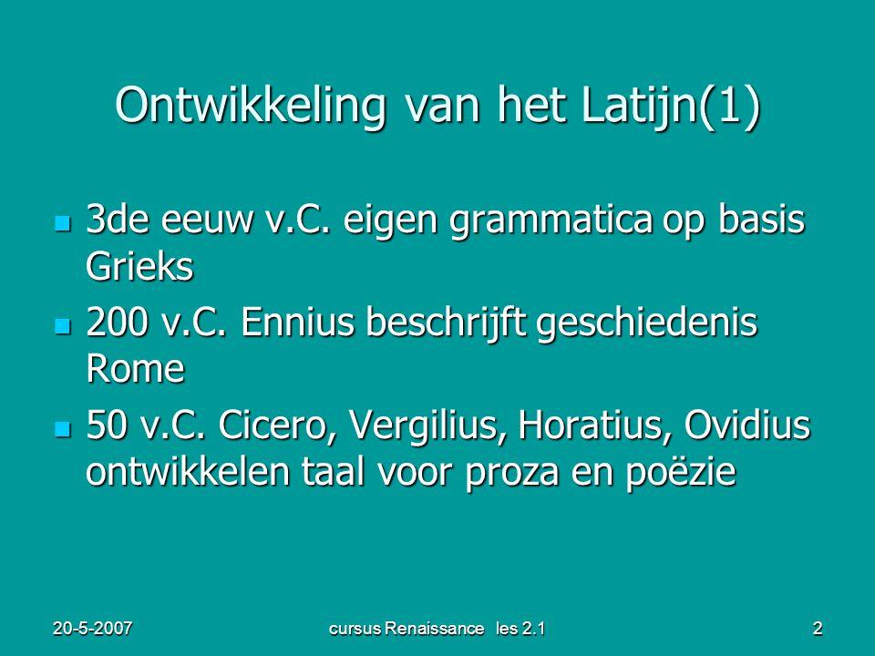 Ontwikkeling van het Latijn(1)