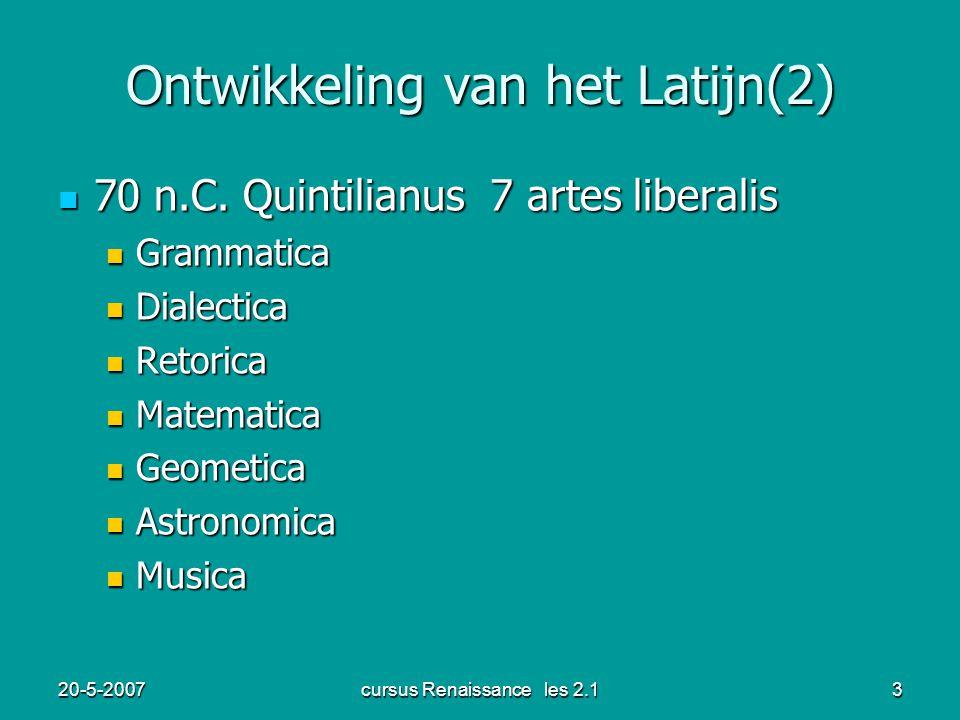 Ontwikkeling van het Latijn(2)