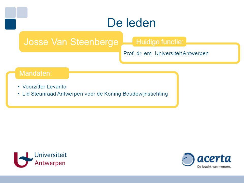 De leden Josse Van Steenberge Huidige functie: Mandaten: