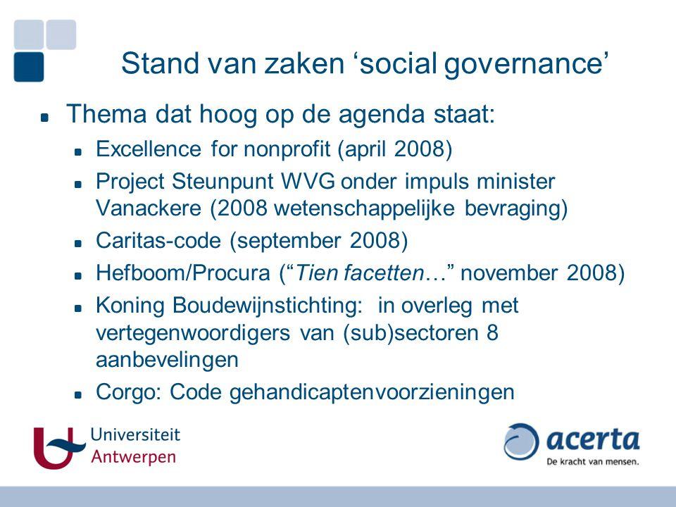 Stand van zaken 'social governance'