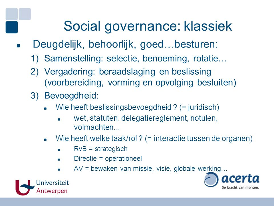 Social governance: klassiek